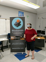 Penni in Virtual Reality at Chip Camp. Only the second time I've had VR on.