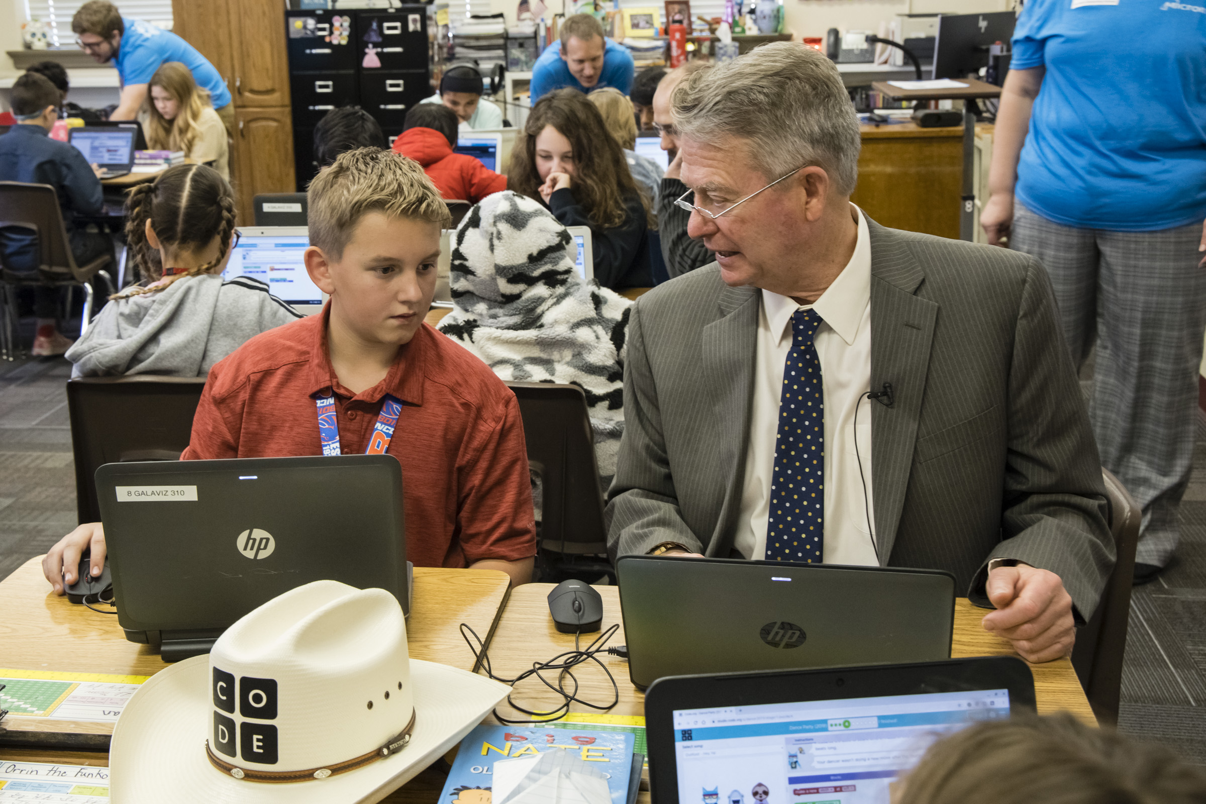 Governor Little participating in Hour of Code